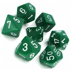 Green & White Opaque Polyhedral 7 Dice Set